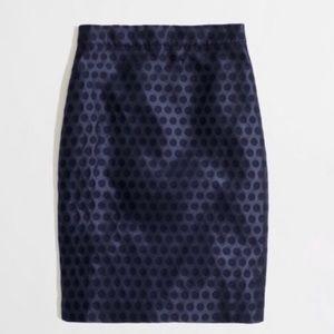 J. Crew black tone on tone polka dot pencil skirt